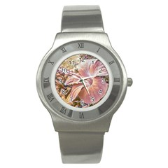 Fantasy Colors Hibiscus Flower Digital Photography Stainless Steel Watch (slim) by dflcprints
