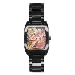 Fantasy Colors Hibiscus Flower Digital Photography Stainless Steel Barrel Watch by dflcprints