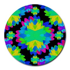 Multicolored Floral Print Geometric Modern Pattern 8  Mouse Pad (round) by dflcprints