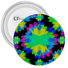 Multicolored Floral Print Geometric Modern Pattern 3  Button by dflcprints
