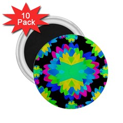 Multicolored Floral Print Geometric Modern Pattern 2 25  Button Magnet (10 Pack) by dflcprints