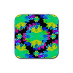 Multicolored Floral Print Geometric Modern Pattern Drink Coaster (square) by dflcprints