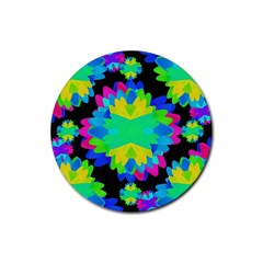 Multicolored Floral Print Geometric Modern Pattern Drink Coasters 4 Pack (round) by dflcprints