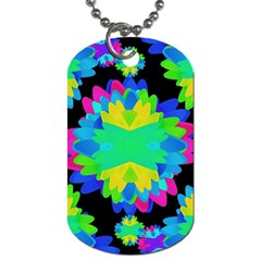 Multicolored Floral Print Geometric Modern Pattern Dog Tag (one Sided) by dflcprints
