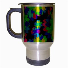 Multicolored Floral Print Geometric Modern Pattern Travel Mug (silver Gray) by dflcprints