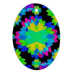 Multicolored Floral Print Geometric Modern Pattern Oval Ornament (two Sides) by dflcprints