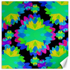 Multicolored Floral Print Geometric Modern Pattern Canvas 16  X 16  (unframed) by dflcprints