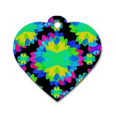 Multicolored Floral Print Geometric Modern Pattern Dog Tag Heart (two Sided) by dflcprints