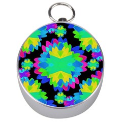 Multicolored Floral Print Geometric Modern Pattern Silver Compass by dflcprints
