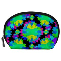 Multicolored Floral Print Geometric Modern Pattern Accessory Pouch (Large) by dflcprints