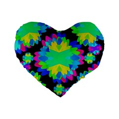 Multicolored Floral Print Geometric Modern Pattern 16  Premium Flano Heart Shape Cushion  by dflcprints