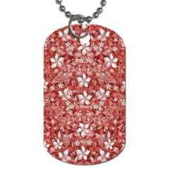 Flowers Pattern Collage In Coral An White Colors Dog Tag (one Sided) by dflcprints