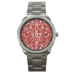 Flowers Pattern Collage In Coral An White Colors Sport Metal Watch by dflcprints