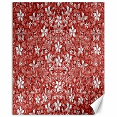 Flowers Pattern Collage In Coral An White Colors Canvas 16  X 20  (unframed) by dflcprints
