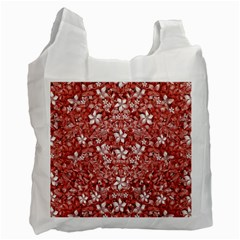 Flowers Pattern Collage In Coral An White Colors White Reusable Bag (one Side) by dflcprints