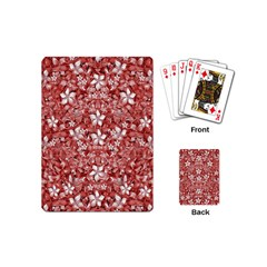 Flowers Pattern Collage In Coral An White Colors Playing Cards (mini) by dflcprints