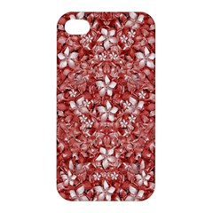 Flowers Pattern Collage In Coral An White Colors Apple Iphone 4/4s Hardshell Case by dflcprints