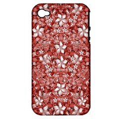 Flowers Pattern Collage In Coral An White Colors Apple Iphone 4/4s Hardshell Case (pc+silicone) by dflcprints