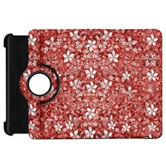 Flowers Pattern Collage In Coral An White Colors Kindle Fire Hd Flip 360 Case by dflcprints