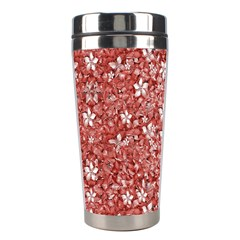 Flowers Pattern Collage In Coral An White Colors Stainless Steel Travel Tumbler by dflcprints