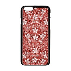 Flowers Pattern Collage In Coral An White Colors Apple Iphone 6 Black Enamel Case by dflcprints