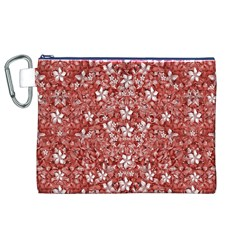Flowers Pattern Collage In Coral An White Colors Canvas Cosmetic Bag (xl) by dflcprints