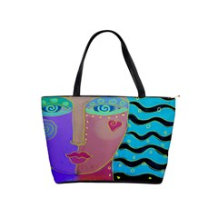 Woman Abstract Art Large Shoulder Bag by paintedpurses