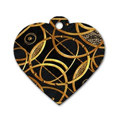 Futuristic Ornament Decorative Print Dog Tag Heart (one Sided)  by dflcprints