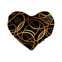 Futuristic Ornament Decorative Print 16  Premium Heart Shape Cushion  by dflcprints