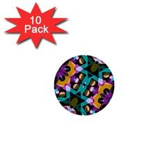 Digital Futuristic Geometric Pattern 1  Mini Button (10 Pack) by dflcprints