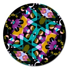 Digital Futuristic Geometric Pattern Magnet 5  (round) by dflcprints