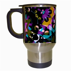 Digital Futuristic Geometric Pattern Travel Mug (white) by dflcprints