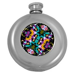 Digital Futuristic Geometric Pattern Hip Flask (round) by dflcprints