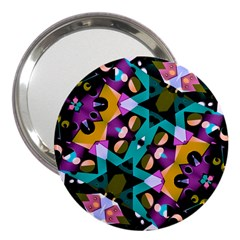 Digital Futuristic Geometric Pattern 3  Handbag Mirror by dflcprints