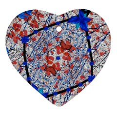 Floral Pattern Digital Collage Heart Ornament by dflcprints