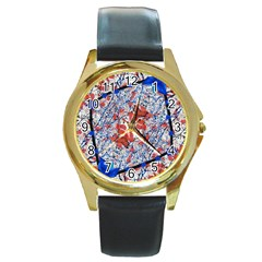 Floral Pattern Digital Collage Round Leather Watch (gold Rim)  by dflcprints