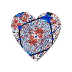 Floral Pattern Digital Collage Magnet (heart) by dflcprints