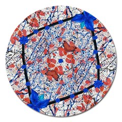 Floral Pattern Digital Collage Magnet 5  (round) by dflcprints