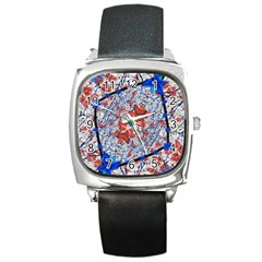 Floral Pattern Digital Collage Square Leather Watch by dflcprints
