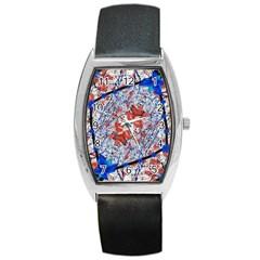 Floral Pattern Digital Collage Tonneau Leather Watch by dflcprints