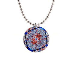 Floral Pattern Digital Collage Button Necklace by dflcprints