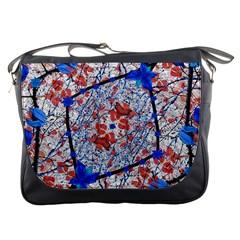 Floral Pattern Digital Collage Messenger Bag by dflcprints