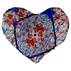 Floral Pattern Digital Collage 19  Premium Heart Shape Cushion by dflcprints
