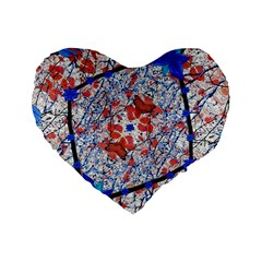 Floral Pattern Digital Collage 16  Premium Flano Heart Shape Cushion  by dflcprints