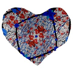 Floral Pattern Digital Collage 19  Premium Flano Heart Shape Cushion by dflcprints