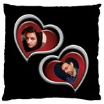 Two Hearts Large Flano Cushion Case - Large Flano Cushion Case (Two Sides)