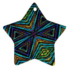 Tribal Style Colorful Geometric Pattern Star Ornament by dflcprints