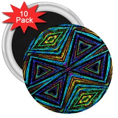 Tribal Style Colorful Geometric Pattern 3  Button Magnet (10 Pack) by dflcprints
