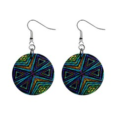 Tribal Style Colorful Geometric Pattern Mini Button Earrings by dflcprints