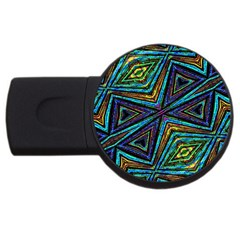 Tribal Style Colorful Geometric Pattern 4gb Usb Flash Drive (round) by dflcprints
